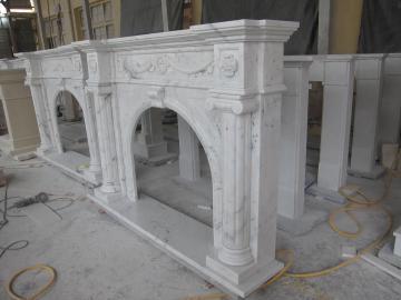 Мраморный каминный портал Хайтек